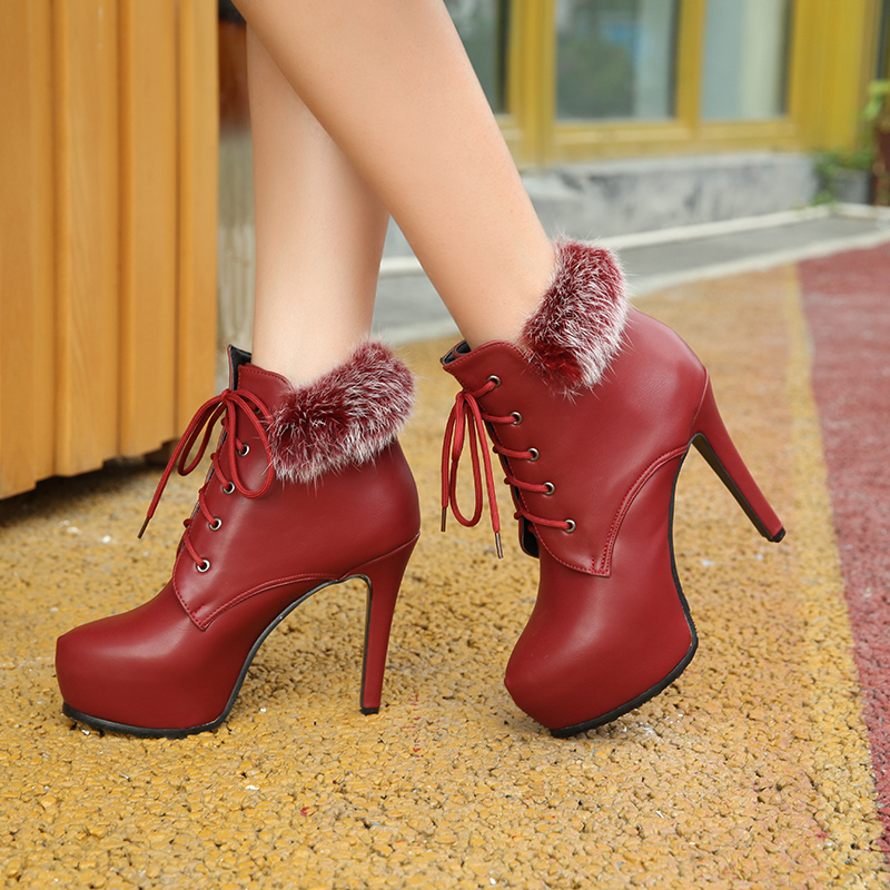 Fashion-Womens-High-Heels-Stiletto-Lace-Up-Pointy-Toe-Fur-Trim-Ankle-Boots-Shoes-Booties-CL620